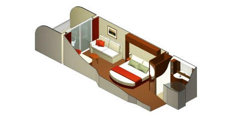 Cabine Deluxe Balcon avec vue partiellement obstruée  - 2D
