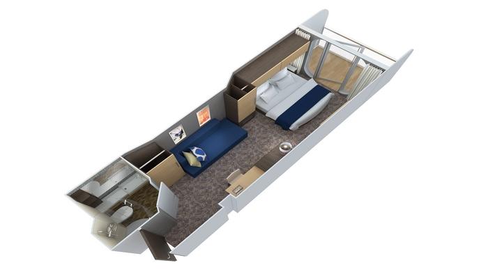 Cabine Balcon - 1E (vue obstruée)