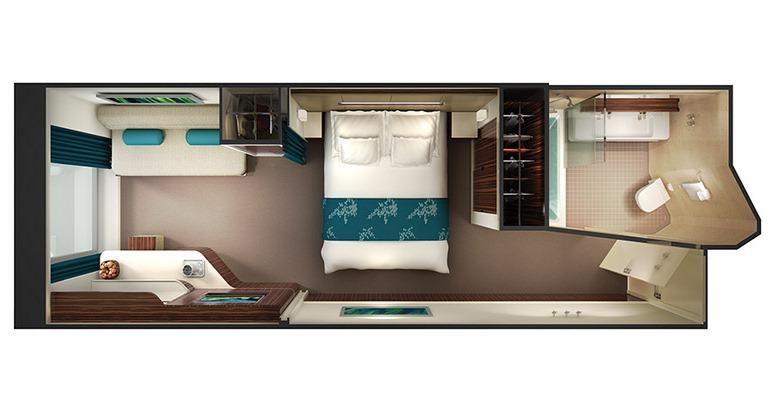 Cabine Familiale vue mer avec baie vitrée - O1
