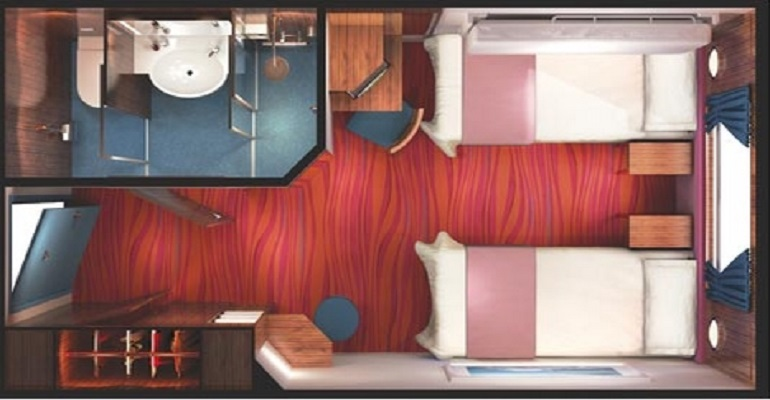 Cabine vue mer grande baie vitrée (au milieu) - OB