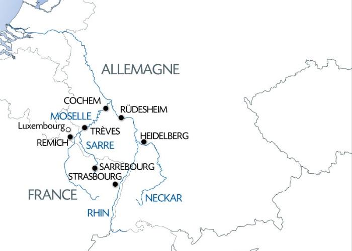 4 Fleuves : Neckar, Rhin, Moselle, Sarre